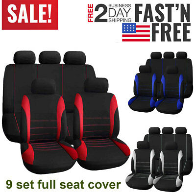 9 Set Universal Car Seat Cover Protector Front & Rear Full Interior Auto Covers