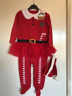 BNWT Girls Next Red Christmas Sleepsuit Outfit With Hat. Age 12-18 Months