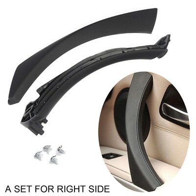 Right Black Inner+Outer Door Panel Handle Pull Trim Cover for BMW E90 328i Sedan