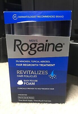 Mens Rogaine Unscented Foam 3 Month Supply, Exp 06/2020