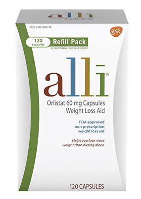 alli Diet Pills for Weight Loss, Orlistat Refill Pack 120 Capsule, Exp 02/2021