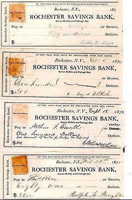 Collection of 4 Vintage 1870s Hand Written Bank Checks no stamps
