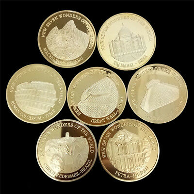 7pcs Seven Wonders of the World Gold Coins Set Commemorative Coin Collection ESU
