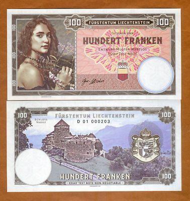Liechtenstein, 100 Francs, 2018, Private issue, Specimen > Girl with flowers