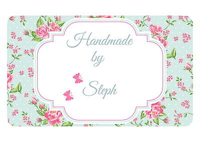 21 Hand Made By Shabby Chic  Personalised Glossy Craft Stickers,labels, Any Text