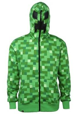 Minecraft Creeper Youth Hoodie Costume Jacket Boys Large Green Dual Zipper New