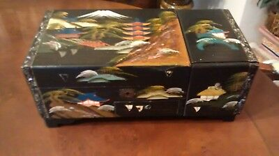 Vintage Japanese Hand Painted Musical  Jewellery / Jewelry Box