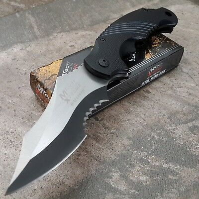 MTECH XTREME BALLISTIC BLACK Spring Assisted Open TACTICAL Flipper Pocket Knife