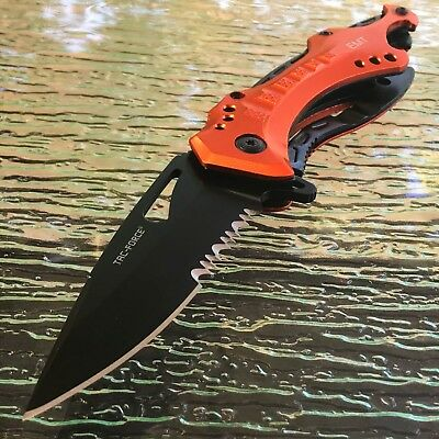 "8"" TAC FORCE EMT EMS EMERGENCY RESCUE SPRING ASSISTED FOLDING POCKET KNIFE Open"