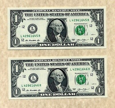 YOU GET 2! $1 SAN FRANCISCO 2013 #L/R UNCIRCULATED One Dollar Notes + Holder