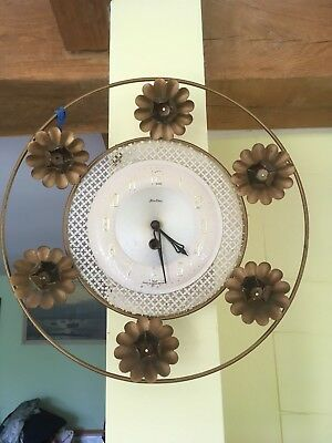 Vintage 50's 60's Bentima Gold Metal Wind Up Wall Clock