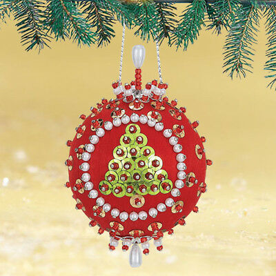 """Oh Tannenbaum"" Kit makes 2 Ornaments Christmas red satin ball sequins, beads"