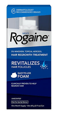Mens Rogaine Foam Unscented, one month supply, Exp 01/2020