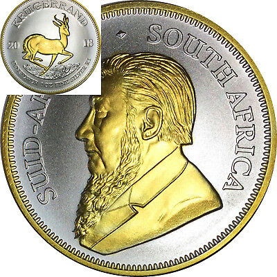 2018 1 Oz Silver Coin Krugerrand Africa 24Kt Gold With Capsule Free Ship