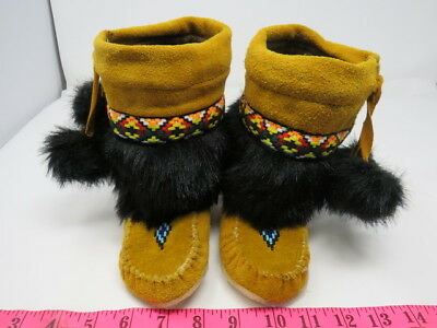 Native American Kids Mukluks 7 Inches, Laces, Lining, Double Rubber Sole