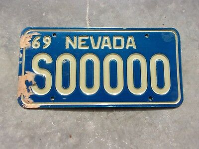 Nevada 1969 Sample License plate   #  S  00000