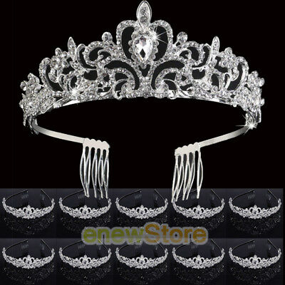 10x Wedding Bridal Princess Crystal Prom Hair Tiara Crown Veil Headband w/ Comb