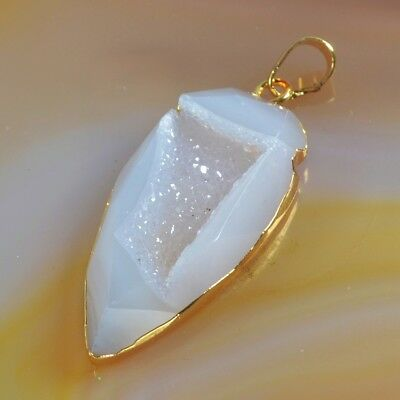 Arrowhead Natural Agate Druzy Geode Pendant Bead Gold Plated H128548