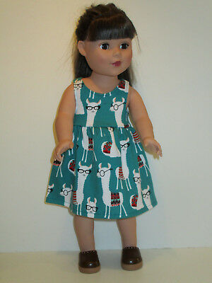 "Llamas Glasses/Teal Sundress for 18"" Doll Clothes American Girl"