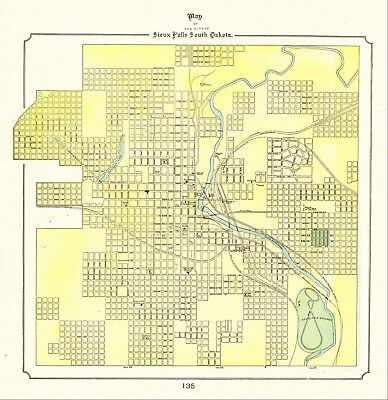 1898 ANTIQUE SIOUX FALLS South Dakota Map Vintage Map of Sioux Falls SD 6168