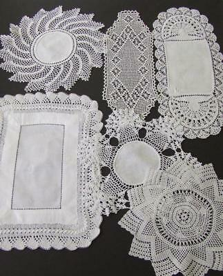 An Assortment of Six White Vintage Hand Crocheted Doilies - Some Cotton Centres