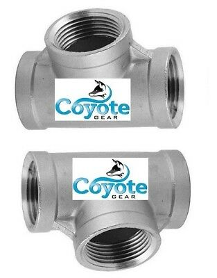 """2 Pack Lot 1/8"""" NPT 316 Stainless Tee Pipe Thread Fittings 3-Way Coyote Gear 304"""
