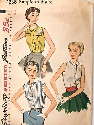 Vintage 1950s Sewing Pattern Simplicity #4238 Blouse Simple Size 12 Bust 30