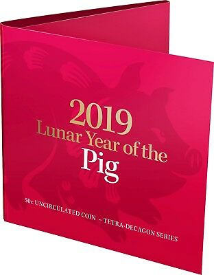 2019 50c Lunar Year of the Pig Tetra-decagon Unc Coin - in red folder