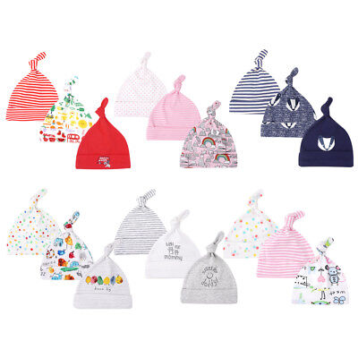 3 Pack Newborn Baby Knotted Hat Boy Girl Soft Cotton Beanie Cap Infant Toddler