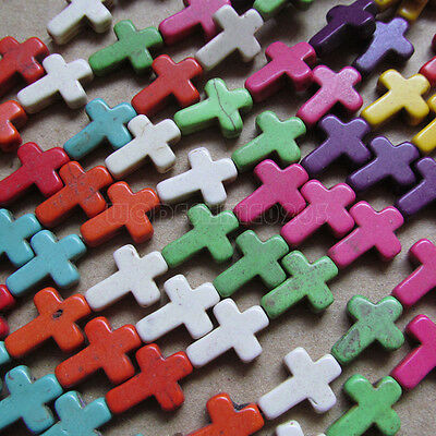 200pc 12*16mm Howlite Turquoise Cross Beads Wholesale Mix colour PJ023