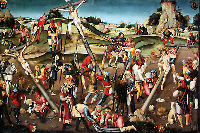 "perfect 36x24 oil painting handpainted on canvas""Crucifixion of Christ"" N6475"