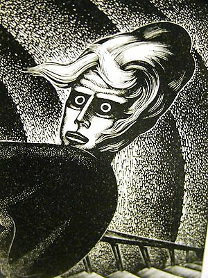 Lynd Ward 1930 STRANGE MAN on the STAIRS INSANITY MEDICAL Art Deco Print Matted