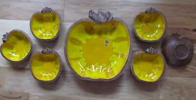 Vintage Sequoia Ware Apple Bowl Set 7pc Yellow Mint New Cond California Pottery