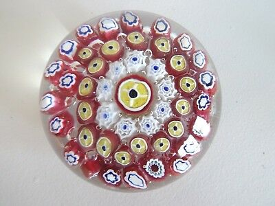 PAIRPOINT Art Glass Concentric MILLEFIORI Paperweight w/ Label 3""