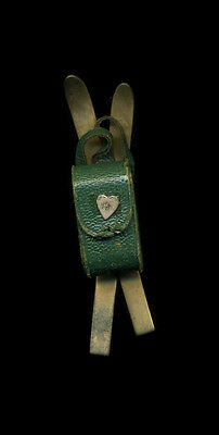 """Early to Mid 20th Century Skis with Leather Backpack Pin, 3 1/8"""""""