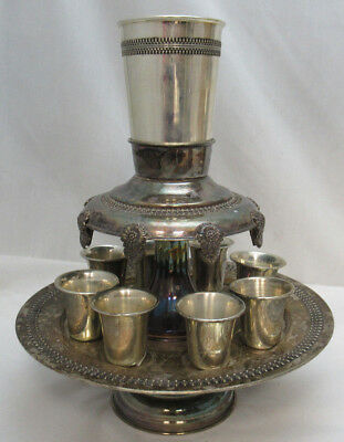 Sterling Silver 925 Liquor Cup Fountain W/9 Cups Stunning Modern Details 516G