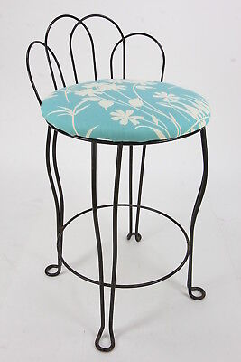 Vanity Stool Vintage Metal Chair W/ Turquoise & Off-White Upholstered Seat