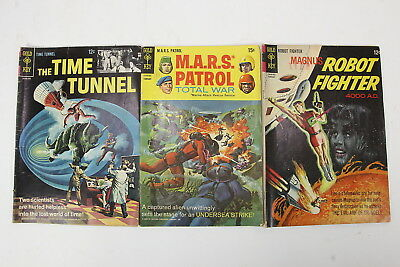 3 Vintage Gold Key Science Fiction Comic Books 1966-69 The Time Tunnel #1 & More