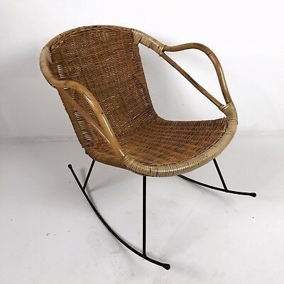 A Fabulous Bamboo And Rattan Rocking Arm Chair Mid-Century Modern Circa 1960's