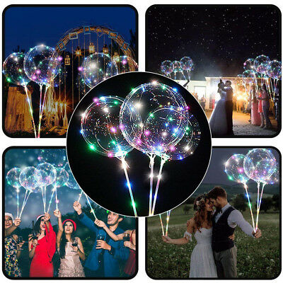 Reusable Luminous Led Balloon Transparent Round Bubble Glowing Balloons Wed