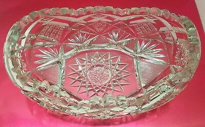 Vtg Antique Cut Crystal Glass Oval Candy Serving Bowl Dish Serrated Edges Stars