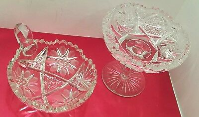 Vtg Antique Cut Crystal Glass Pedestal Candy Serving Bowl & Nappy Dish Lot stars