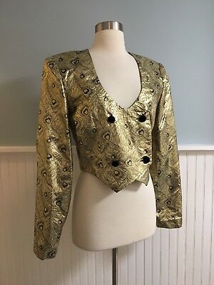 e1df34294472 Size Medium M Women s Gold   Black Tapestry Jacket Blazer Coat Vintage 80s  90s