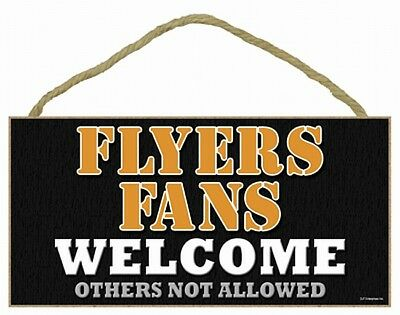 Philadelphia Flyers NHL Ice Hockey Wood Sign Welcome Welcome, 25 cm, Hang