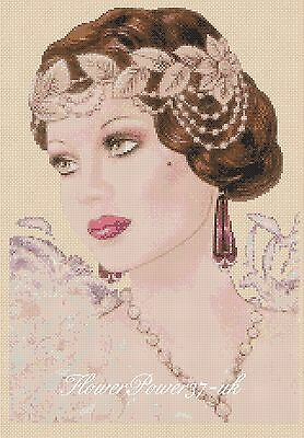 Cross stitch chart  Art Deco Lady 188 anchor -  FlowerPower37-UK-..FREE UK P&P..
