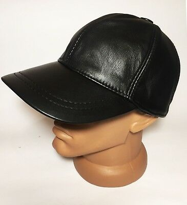 03f02864511 Gorgeous 100% Leather Real Black Baseball Cap Leather Mens Hat Sizes S M L  XL