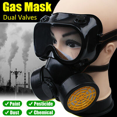 4X Reusable Full Face Respirator Gas Mask & Goggles Dust Proof Fire Paint Guard