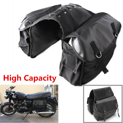 Canvas Motorcycle Scooter Bike Rear Tail Bags Back Pack Mortorbike Saddle Bags