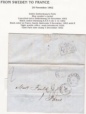 # 1862 Gothenburg Sweden To Paris France Suede Quievrain James Dickson Letter