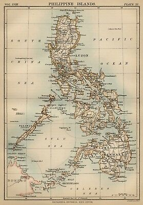 Philppine Islands: Authentic 1889 Map showing Luzon / Mindanao Cities / Ports